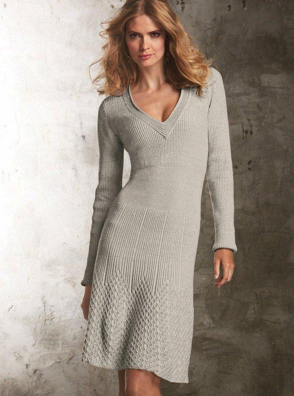 Вязание на спицах платье модели 107