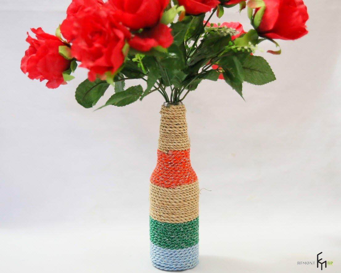 Как из бутылок сделать вазу для цветов