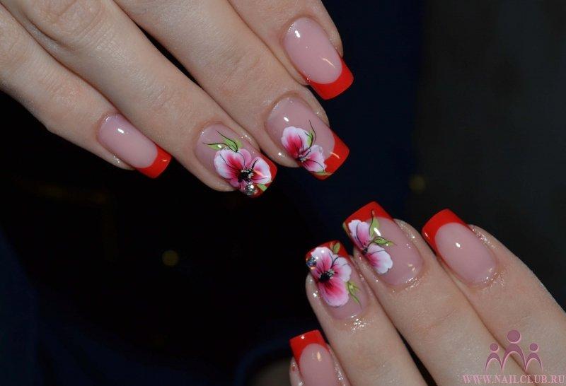 Красный френч на ногтях фото с рисунком