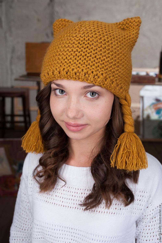 Вязаные женские шапки с ушками или завязками Вяжем с Лана Ви 31