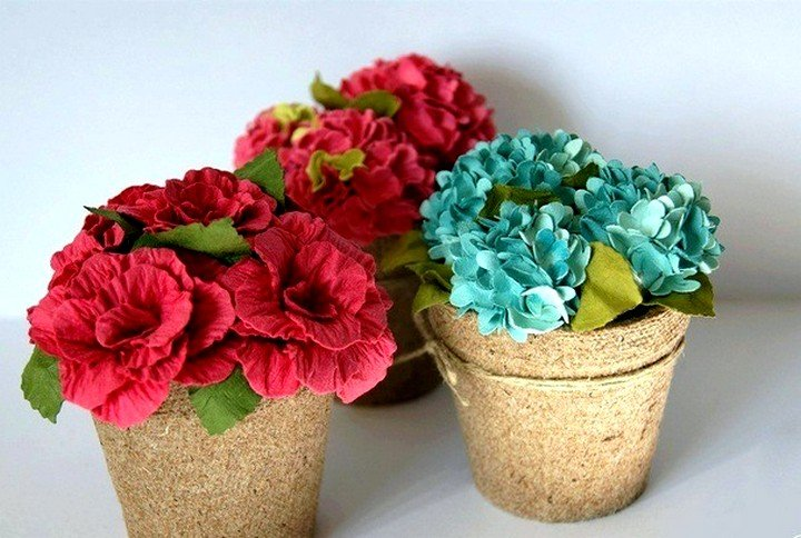 Цветы из бумаги в горшке своими руками из бумаги 19