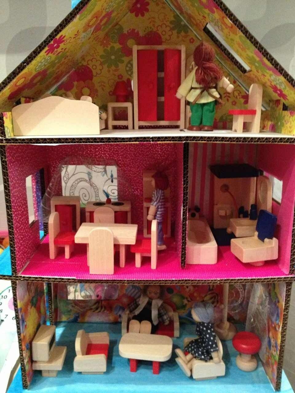 Как сделать кукольный домик из коробки своими руками 87