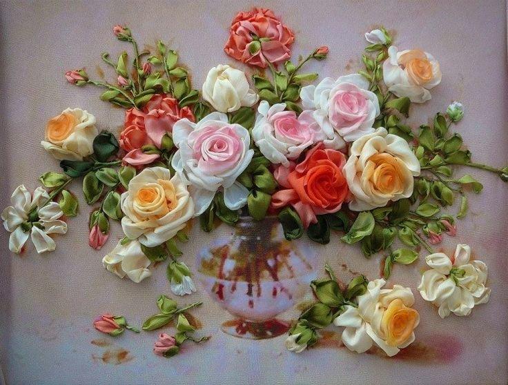 Картина из цветов из лент своими руками