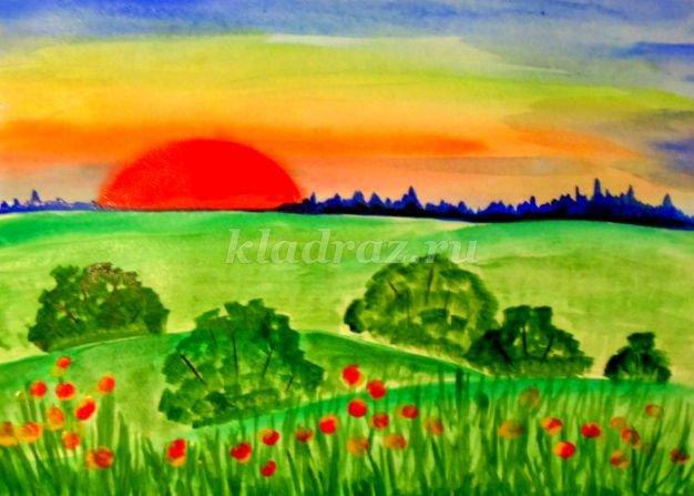 Рисуем пейзаж гуашью поэтапно с детьми