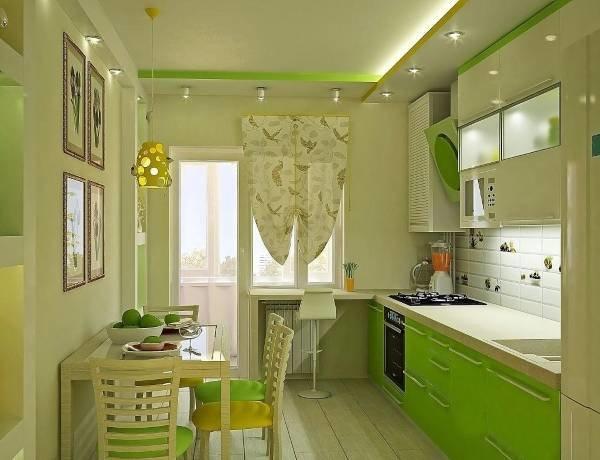 Дизайн кухни зеленых тонах