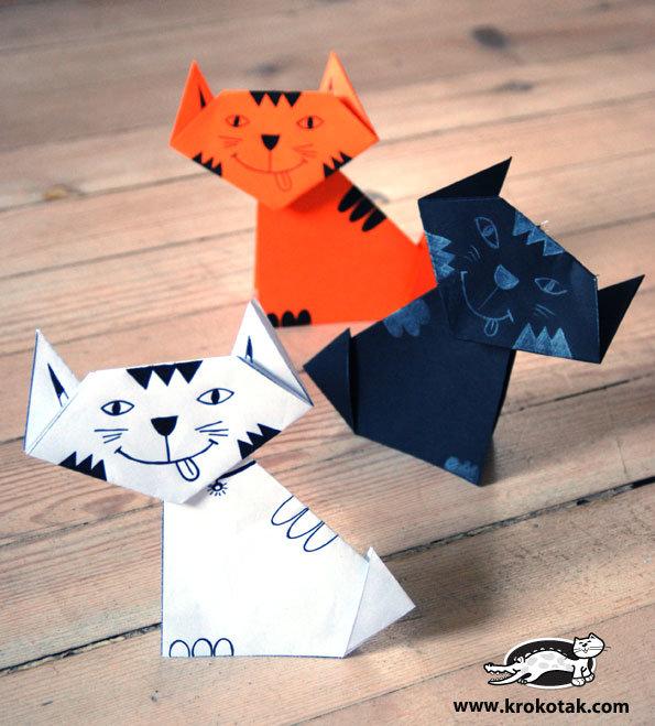 Поделки из бумаги котик сделать