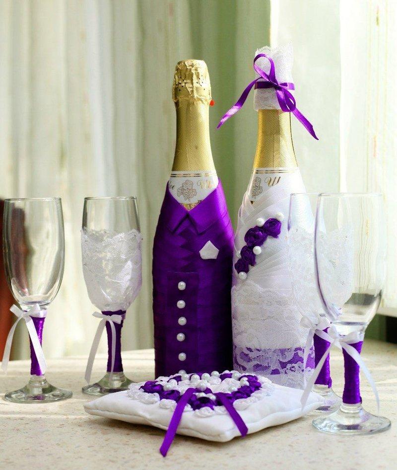 Свадебные шампанское своими руками лентами