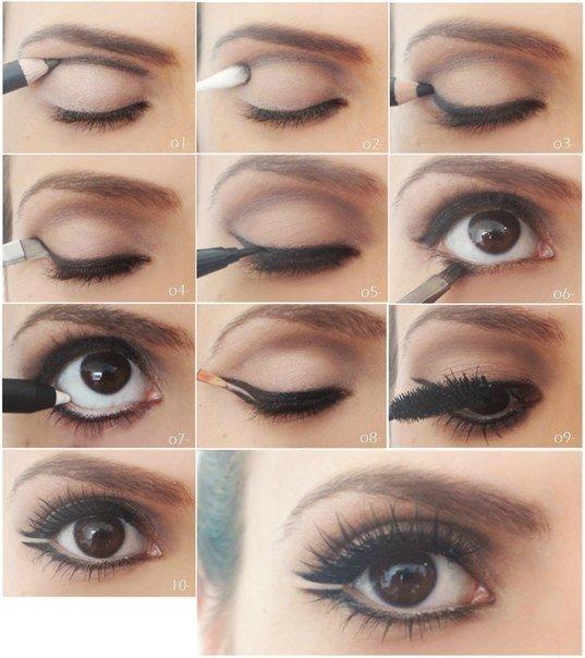 Как сделать пошагово макияж для карих глаз