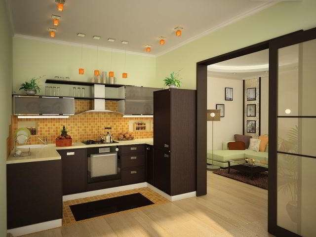 Дизайн гостиной с дверью на кухню