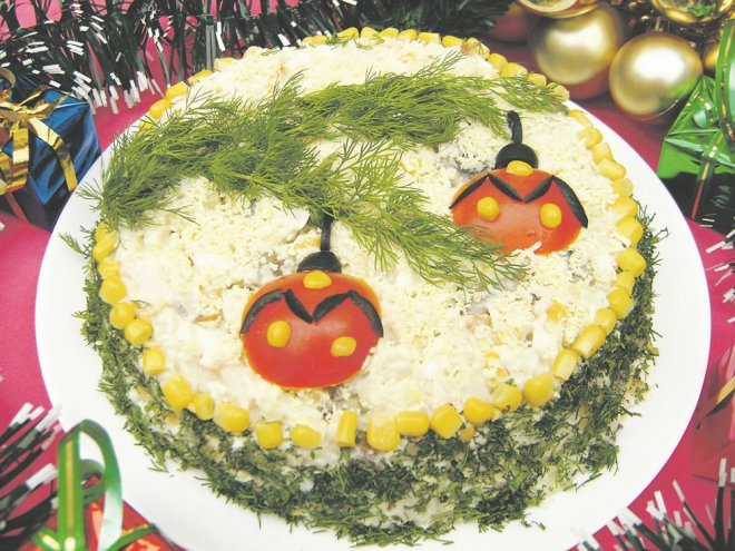 Рецепт оригинальных салатов к новому году