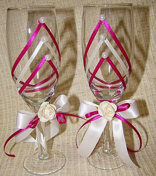 Декор бокалов лентами на свадьбу своими руками 86