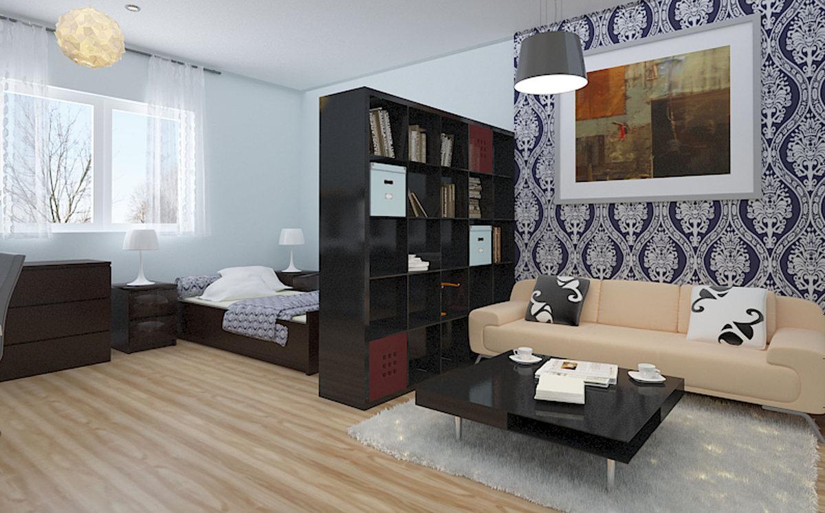 Комната 18 кв м дизайн на две зоны спальня и гостиная икеа