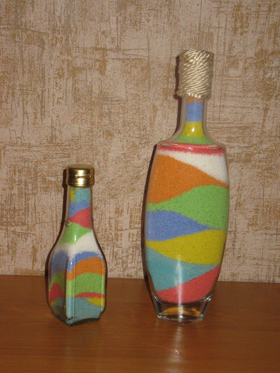 Декор бутылок солью своими руками