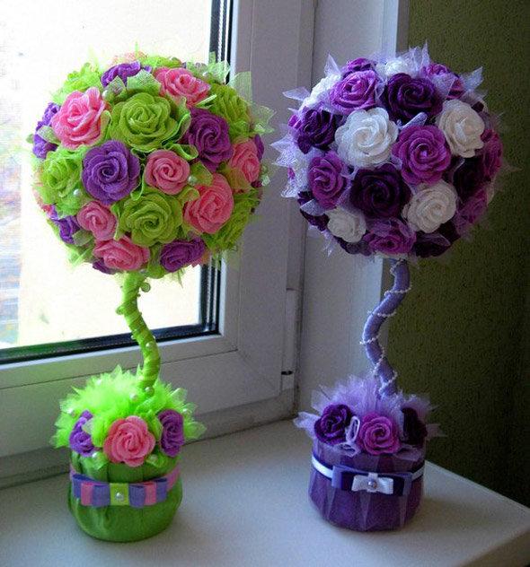 Топиарий цветы из бумаги своими руками