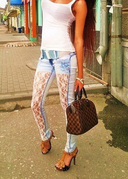 Гипюр на джинсах своими руками