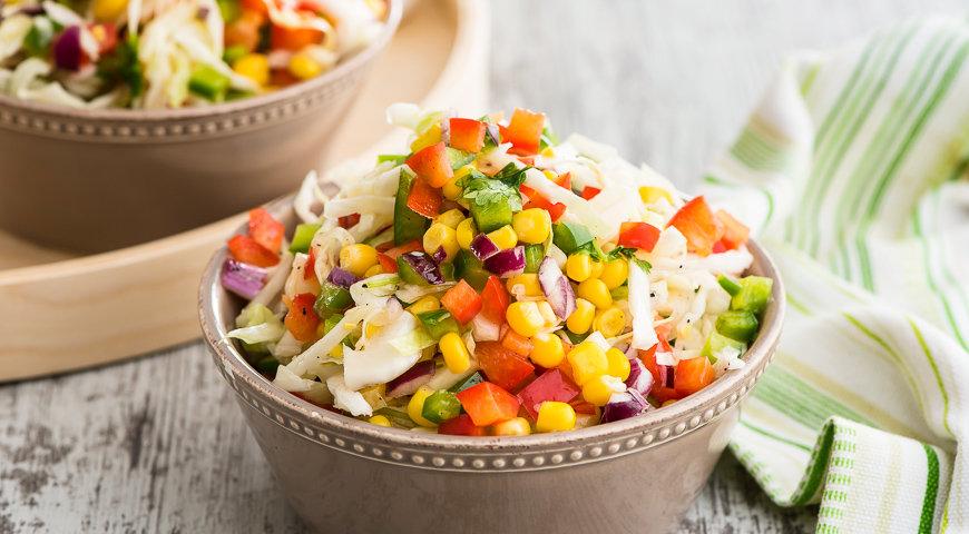 Салат из молодой капусты с кукурузой рецепты с