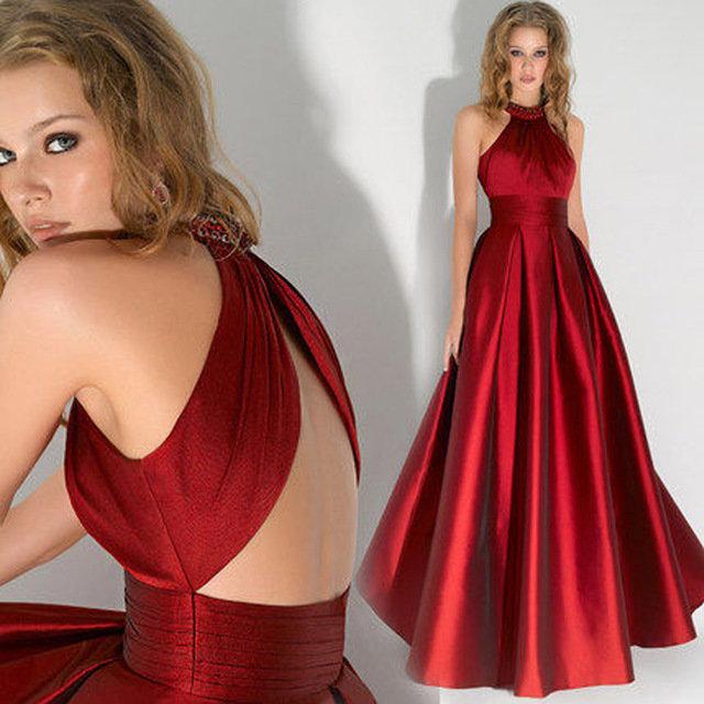 Фото платья в пол красного цвета с открытой спиной