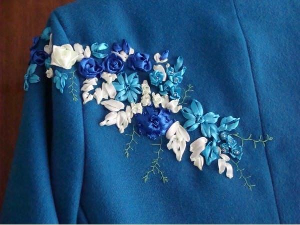 Как сделать вышивку лентами на пальто