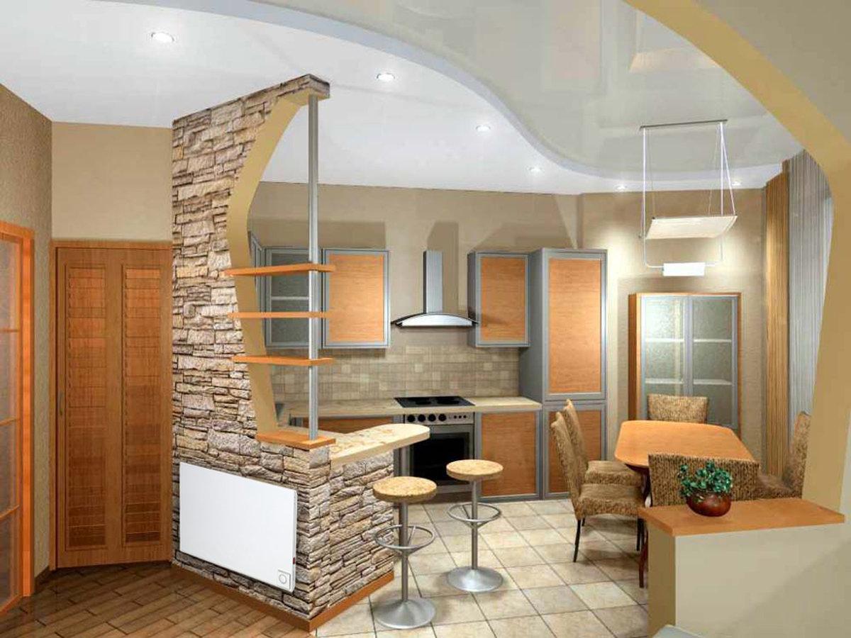 Дизайн арок и барных стоек дикоративным камнем на кухни