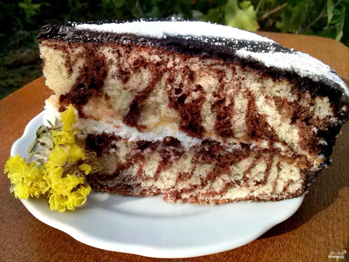 Зебра торт рецепт без сметаны
