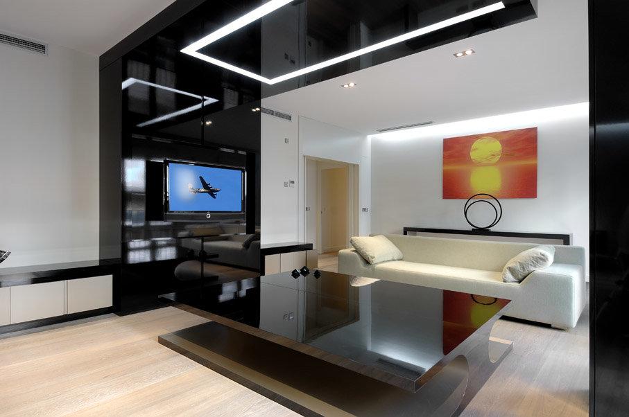 Дизайны гостинных в хай тек