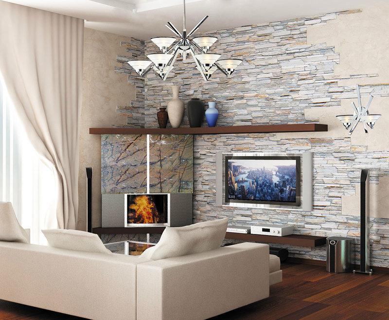 Интерьер гостиной с искусственным камнем фото