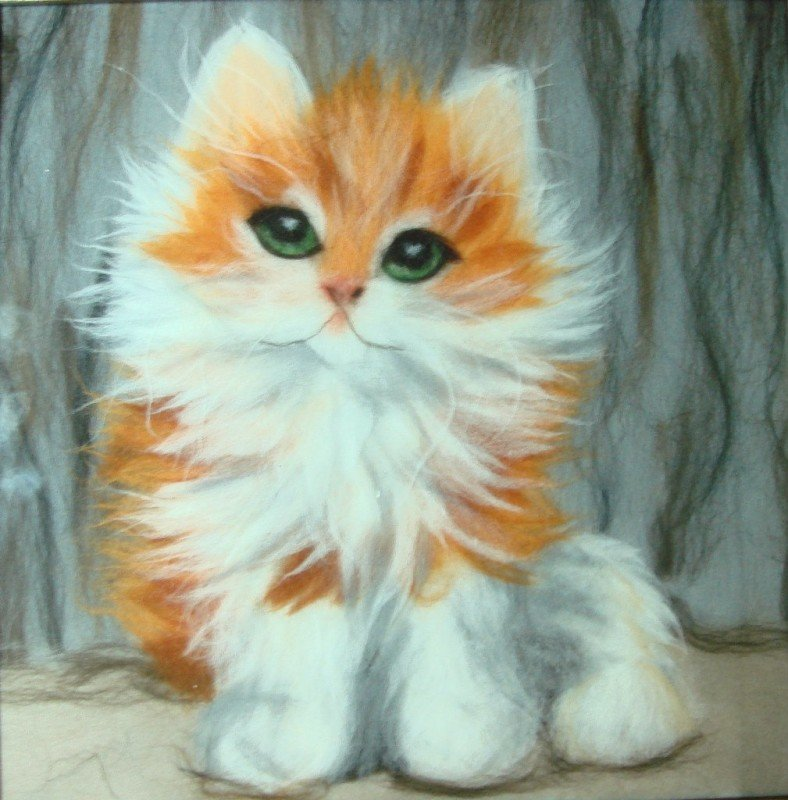 Картины из шерсти мастер класс коты