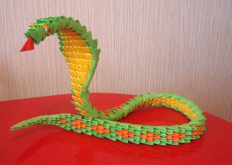 Змея из бумаги модульное оригами
