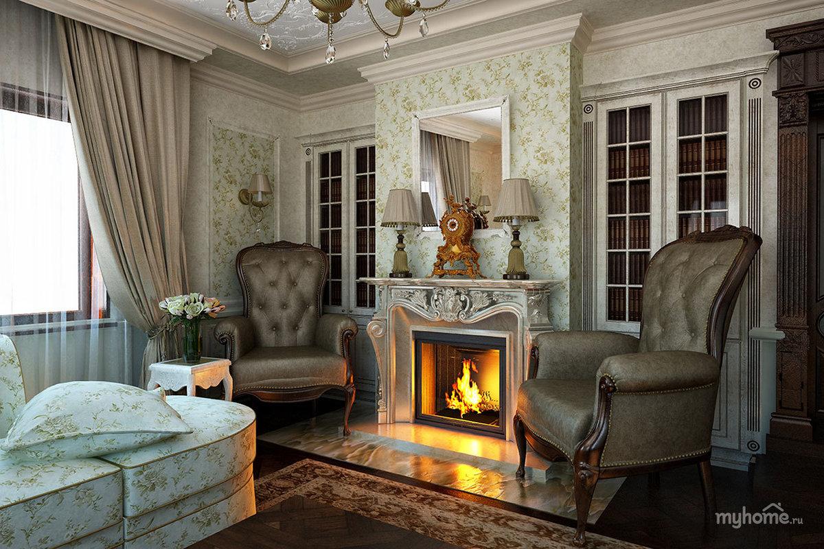 Дизайн гостиной с камином классика