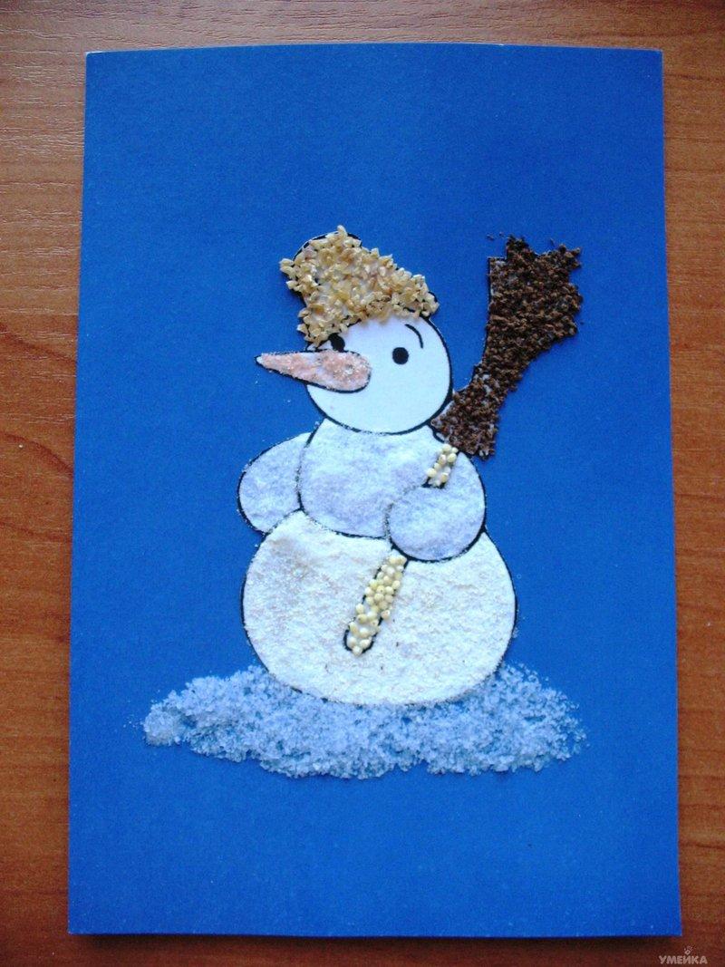 Снеговик аппликация из цветной соли