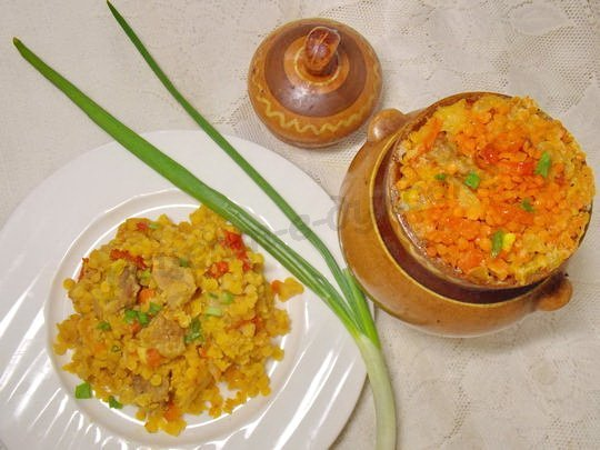 Фото рецепт каши из красной чечевицы
