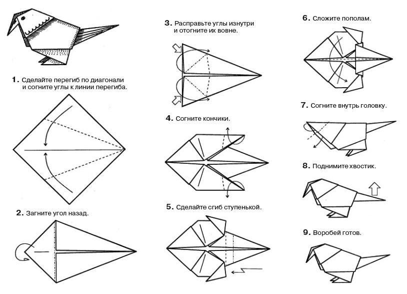 Как сделать воробья из бумаги поэтапно