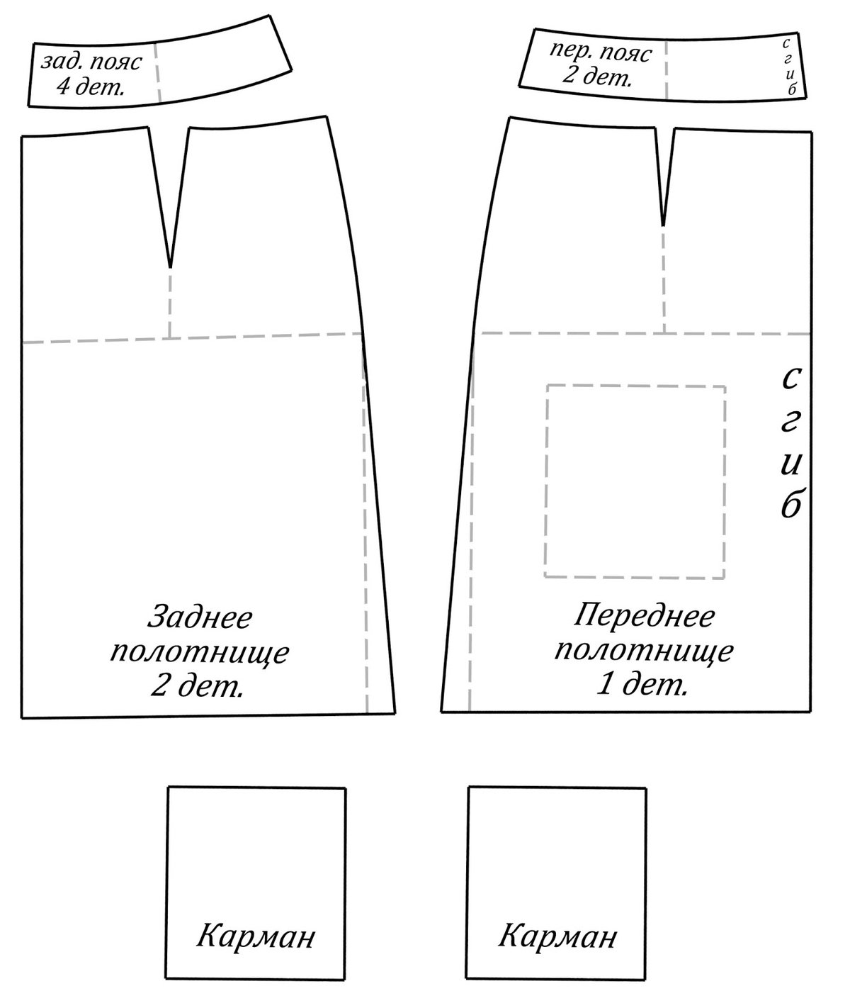 Как сшить юбку накладную 984