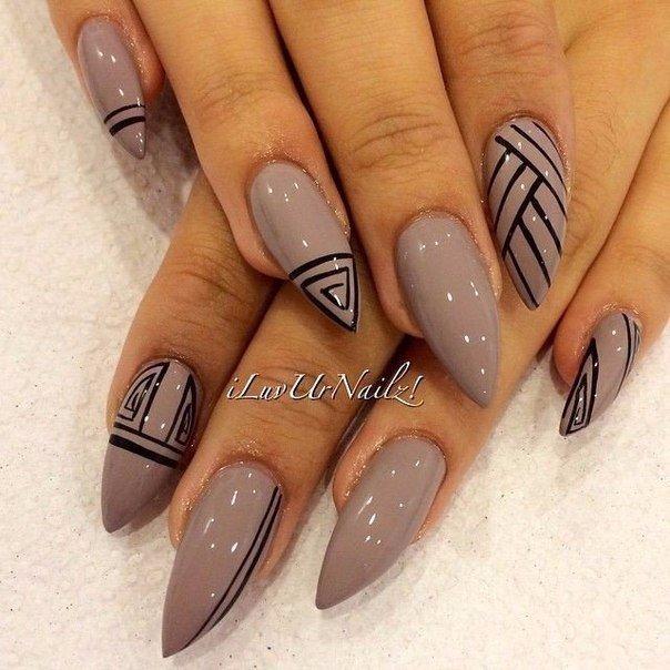 Дизайн острых ногтей шеллак