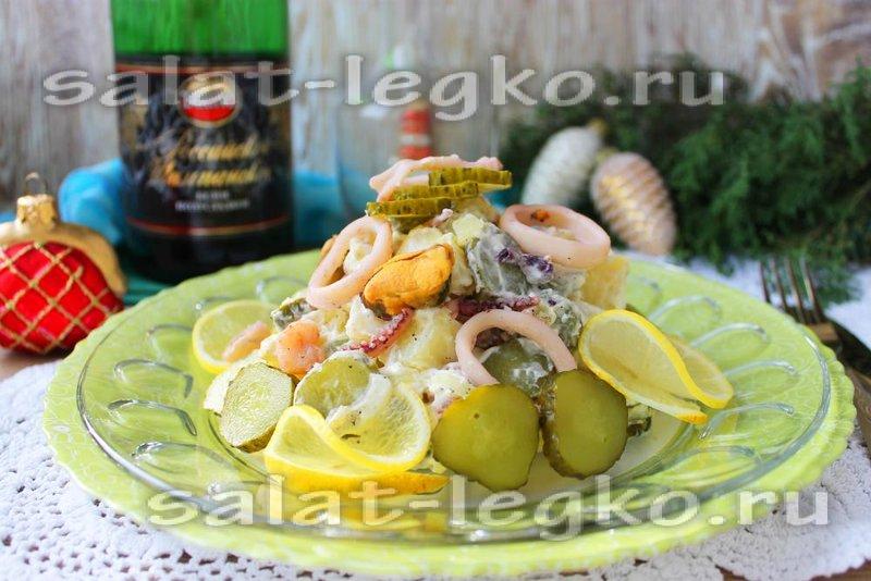 Праздничные салаты морепродуктами рецепты фото