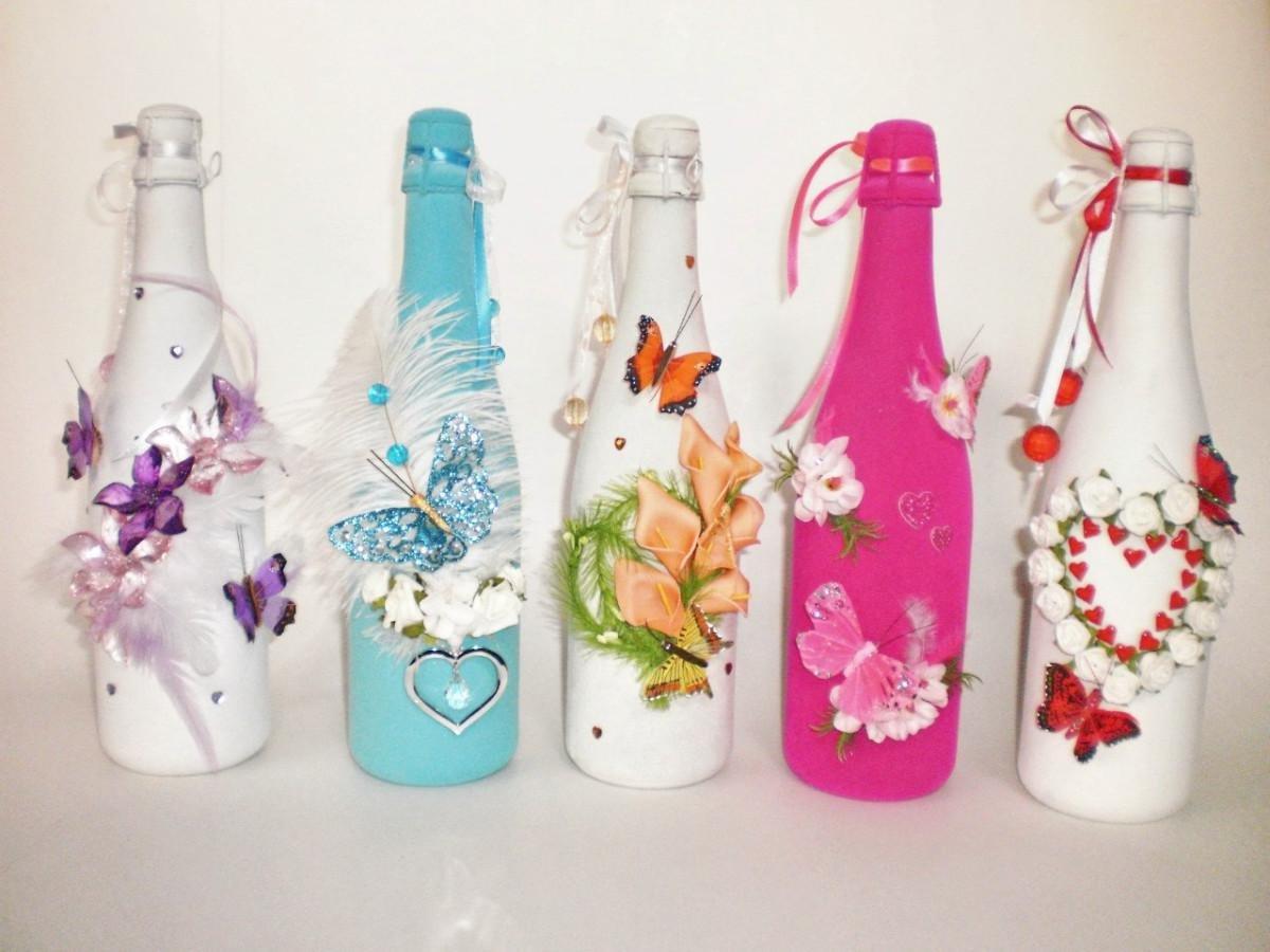 Дизайн бутылки лентами своими руками