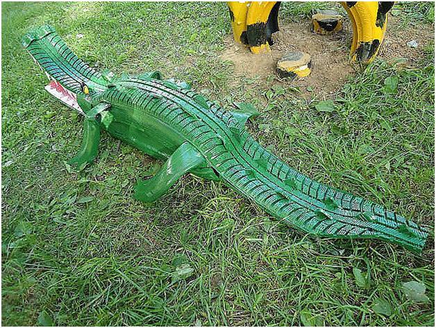 Крокодил из шины как сделать своими руками 83
