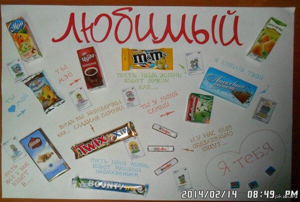 Подарок на день рождения на ватмане со сладостями 32