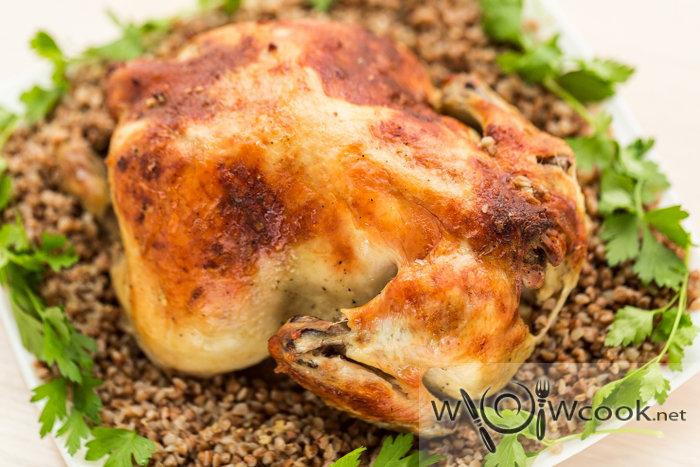 Рецепт курицы в духовке целиком с гречкой с фото