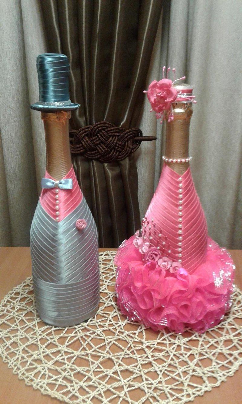 Украшение бутылок своими руками из лент