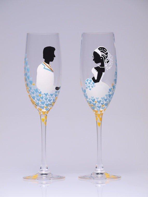 Свадебные бокалы чем на них рисуют