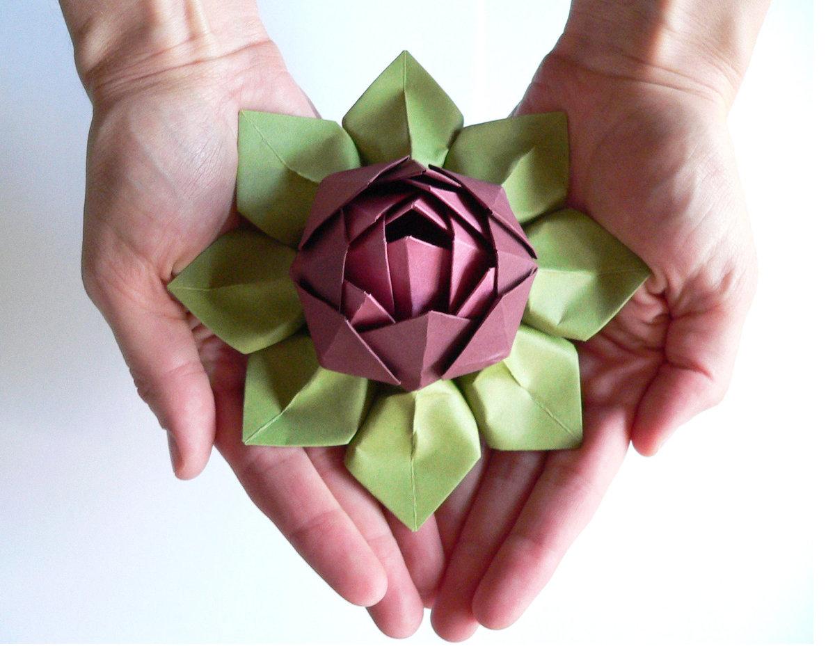 Цветок лотоса фото оригами