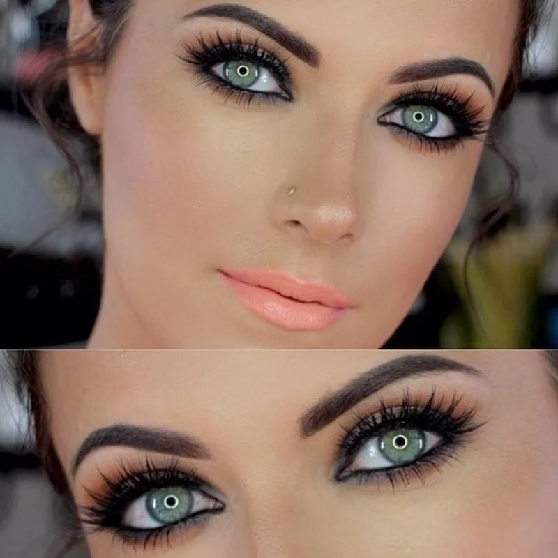 Вечерния макияж для брюнетки с серыми глазами фото