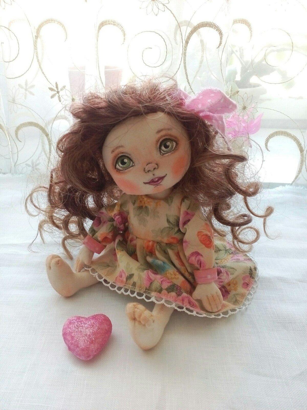 Кукла  текстильная и платье для нее, куклы своими руками