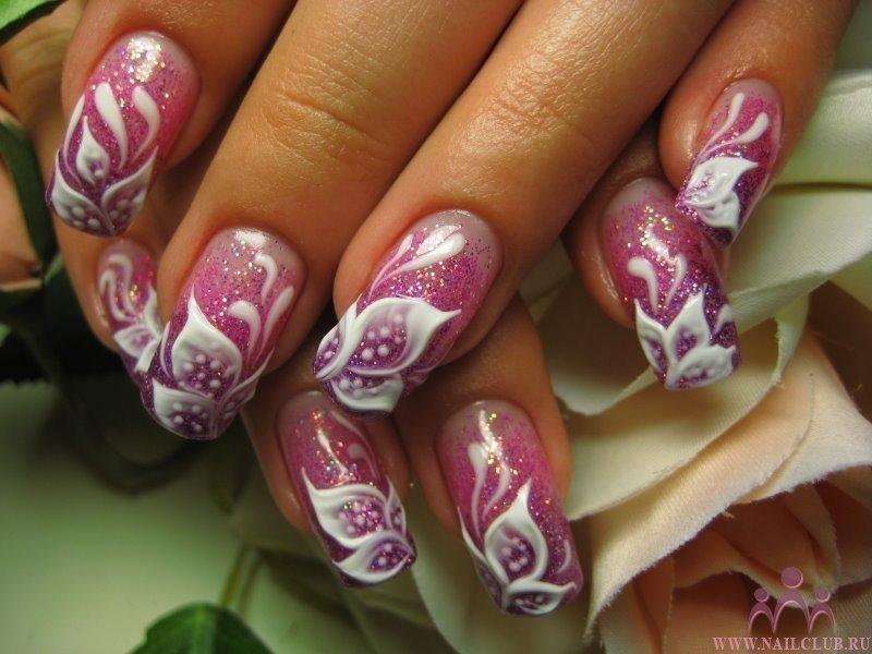 Наращивание ногтей цветы