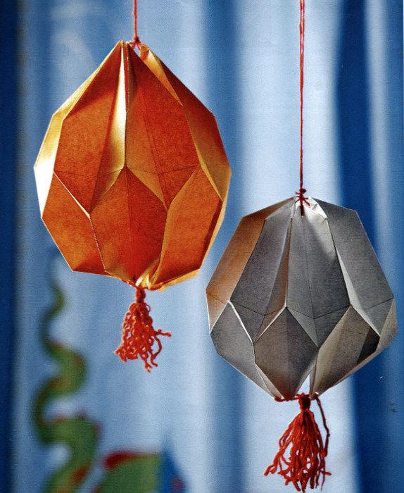 Новогодние фонарики из бумаги шары и фонарики