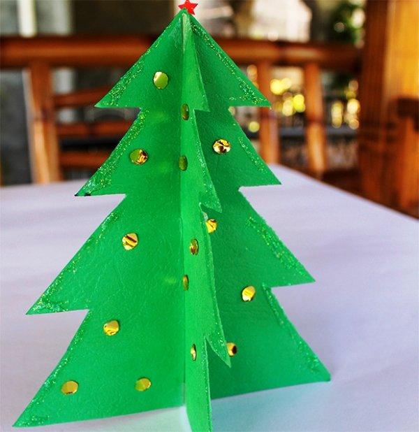 Как сделать своими руками новогоднюю елочку из бумаги