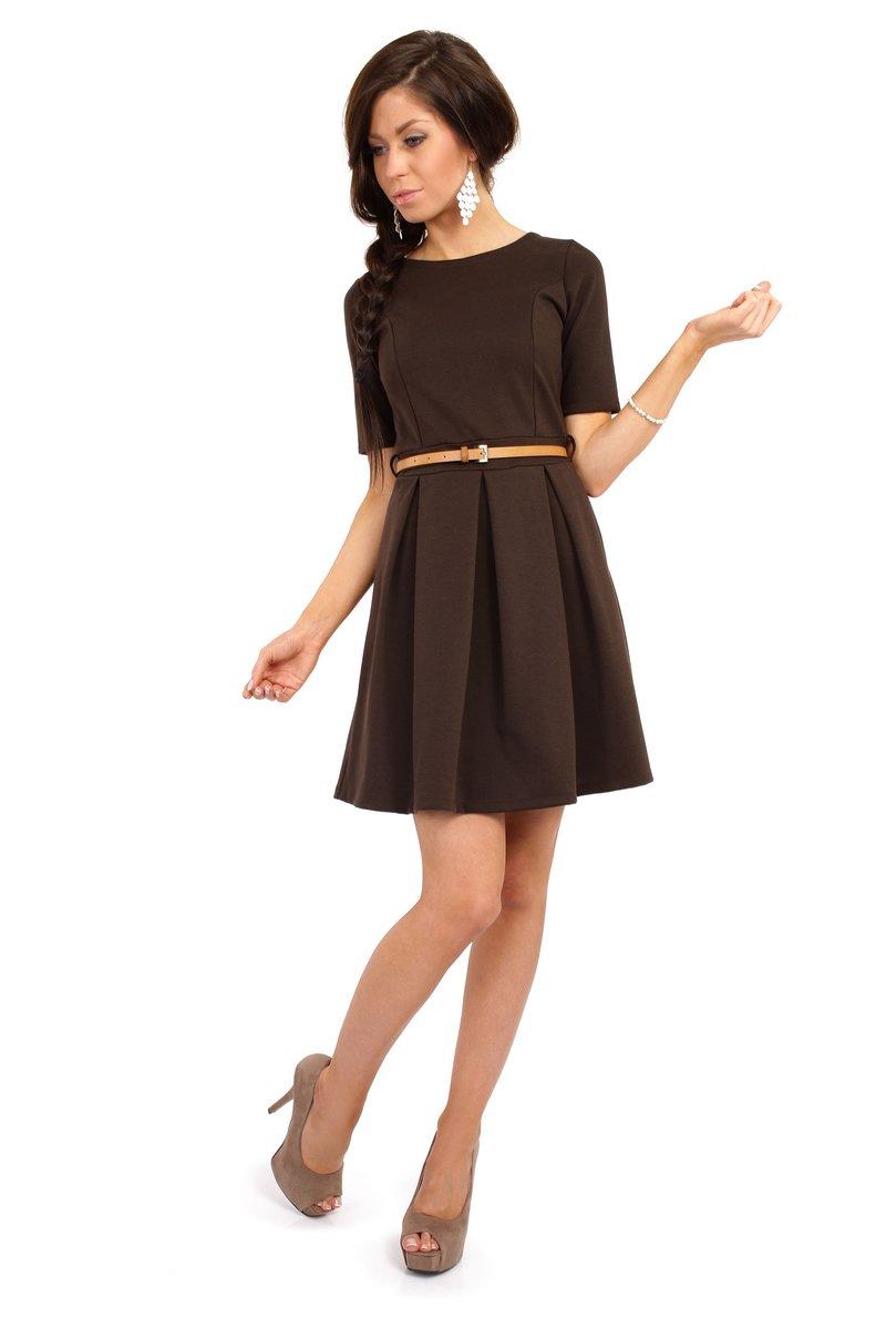 Короткие коричневые платья