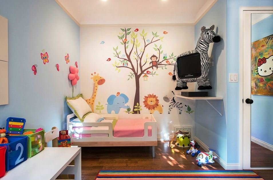 Дизайн стены своими руками в детской комнате 86