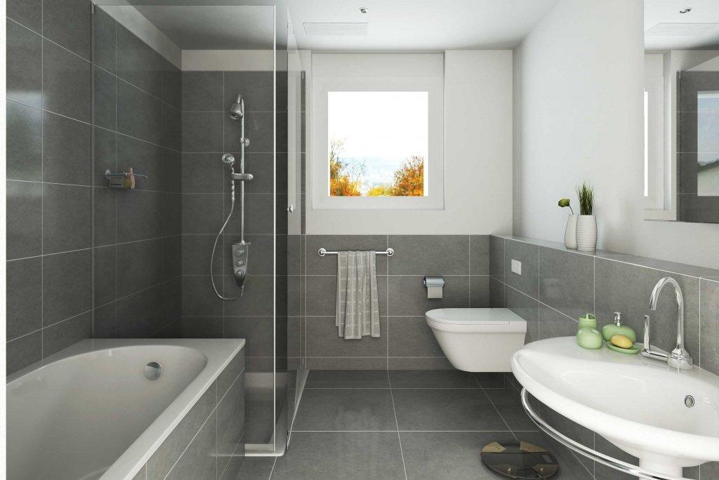 Дизайн ванной с прямоугольной ванной